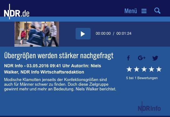 Interview NDR Info über Plus Size Mode bei Männern