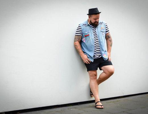 Denim Trend Patches DIY Do It Yourself Plus Size Fashion pimp your outfit iron on patches Bügelbilder Aufbügeln Male Plus Size Fashion Blog Blogger Model Claus Fleissner