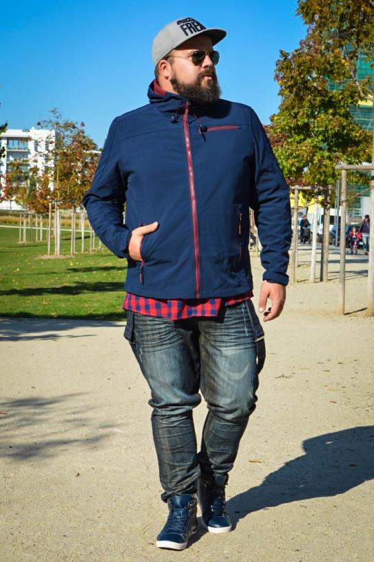 Male Plus Size Model Blog Blogger Männer XXL große Größen Claus Fleissner Softshelljacke Winterjacke Skijacke Herrenmode XXL Outdoorjacke Outdoor