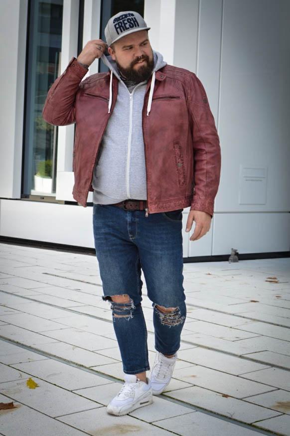 Engbers XXL Männermode große Größe Plus size Male Fashion Blog Blogger Claus Fleissner Lederjacke XXL Streetstyle