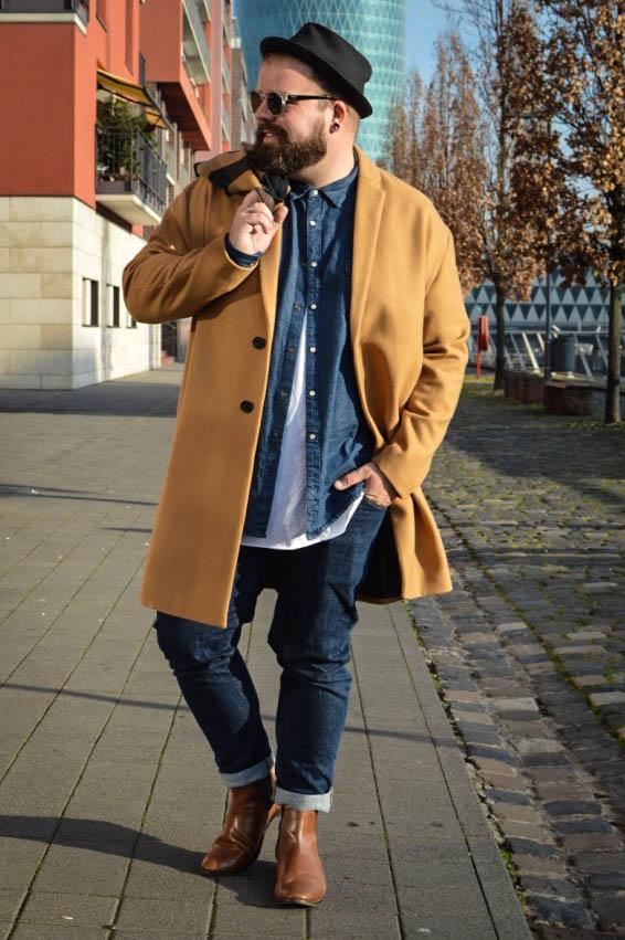 ASOS PLUS asos menswear male plus size blog blogger model claus fleissner mantel camel coat porkpie denim jeans wintermantel stetson lespecs asseenonme