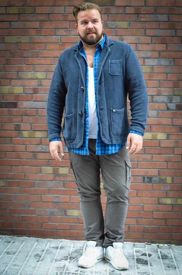 Male Plus Size Model Blog Blogger engbers XXL Männermode große Größen Herrenmode XXL Übergröße stricksakko