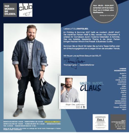 Mailing XXL+T Plus Size Model Claus Fleissner