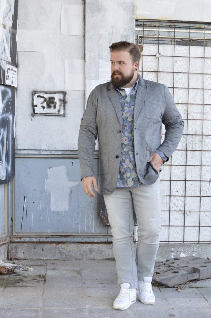 Jersey Sakko Jacket Plus Size Happy Size Casual Friday Business Hemd geblümt