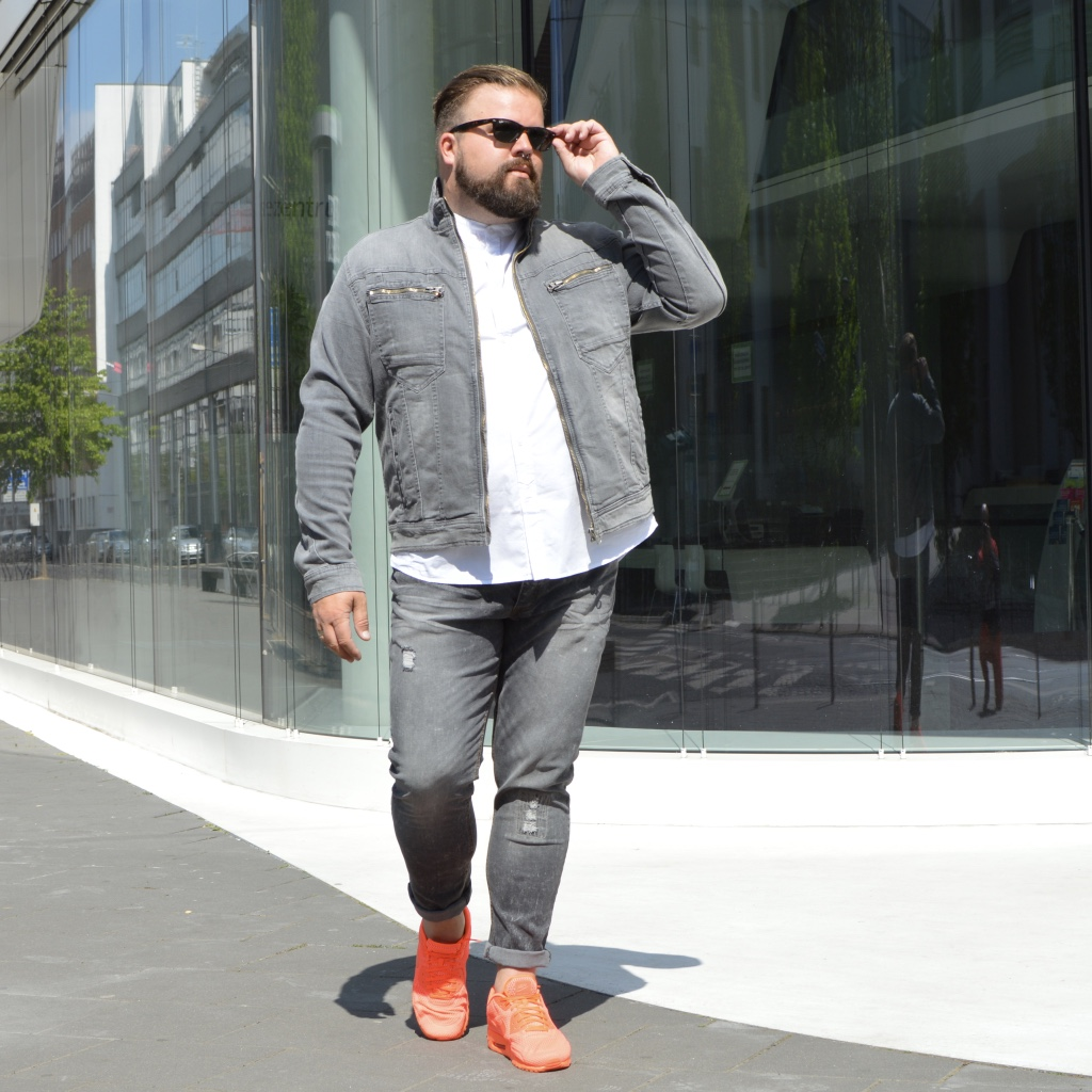 grey double denim jeans bonprix male plus size große Größen Outfit Granddad Kragen collar casual