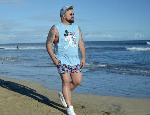 ASOS PLUS swimwear beachwear camouflage Mickey Mouse shirt beach Strand große Größe Badehose Claus