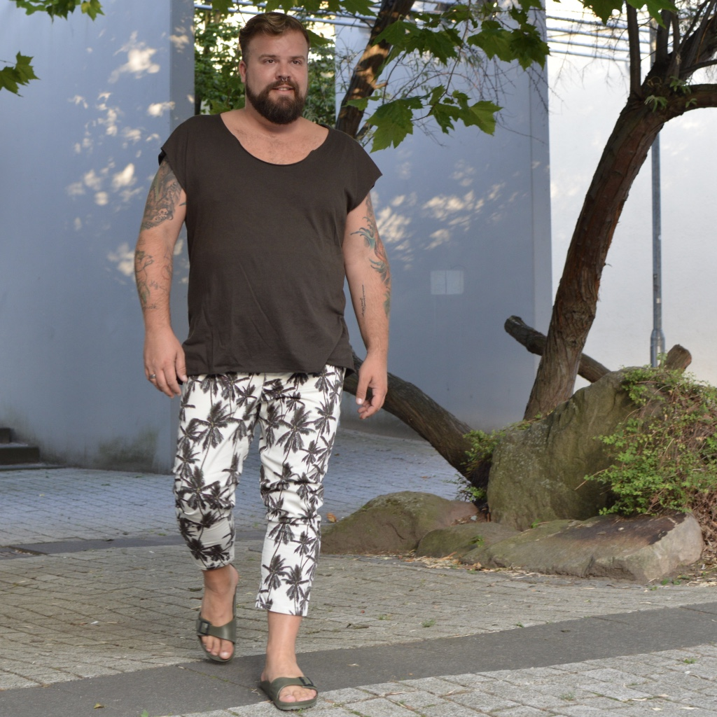Asos Hose mit Palmenprint Asos Plus Plus Size Fashion Male Model Blogger