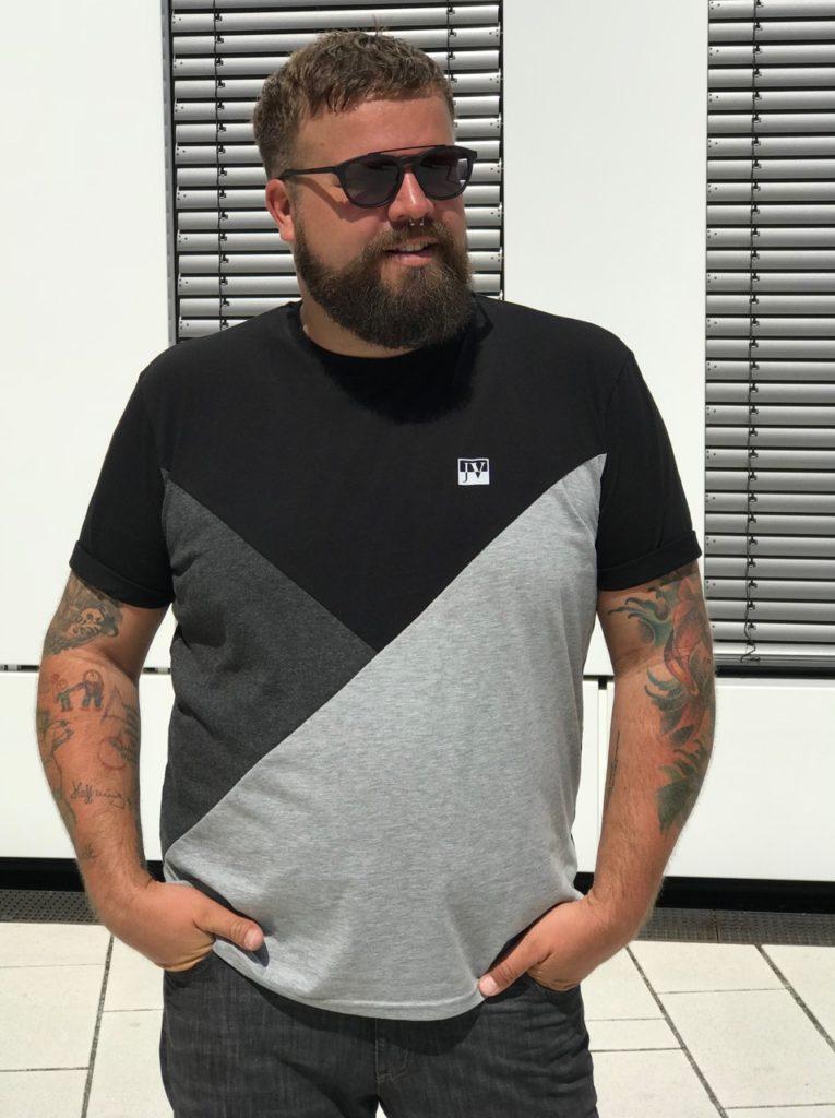 Claus Fleissner Jan Vanderstorm T-Shirt geometrisch schwarz black grau grey