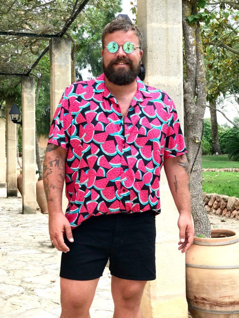 Claus Fleissner ASOS PLUS Hawaii Hemd Short Melone melon Print