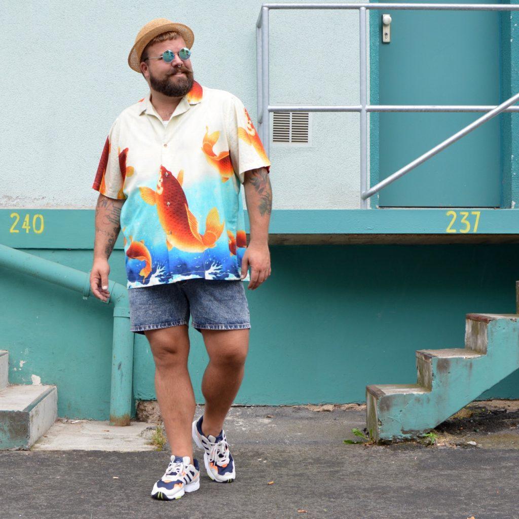 Asos Plus Size Shirt Hemd Koi Motiv Print Japan Asia Style