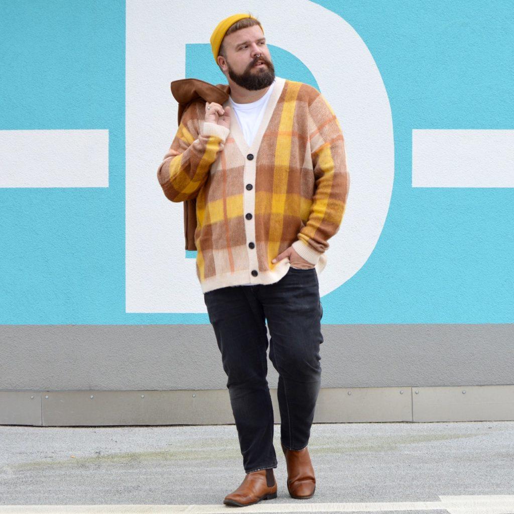 Asos Plus Übergröße autumn fall herbst outfit biker senfgelb strick cardigan